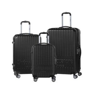 Sada 3 čiernych cestovných kufrov na kolieskách s kódovým zámkom SINEQUANONE