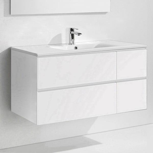 Kúpeľňová skrinka s umývadlom a zrkadlom Capri, odtieň bielej, 120 cm