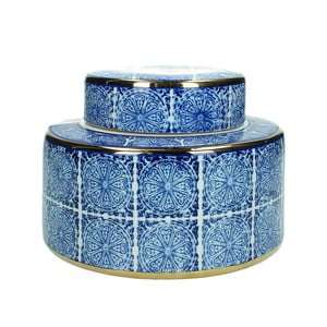 Modrá kameninová dóza HF Living, výška 15,5 cm