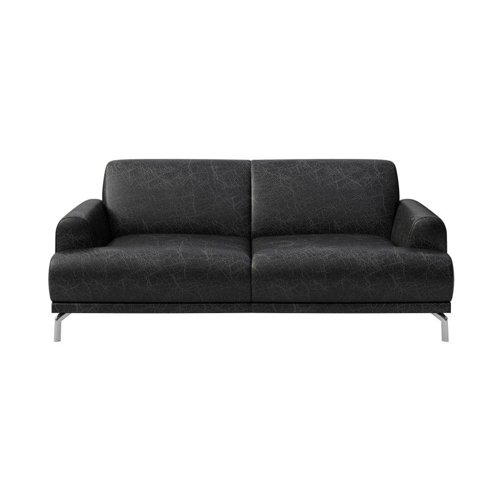 Čierna kožená pohovka MESONICA Puzo, 170 cm