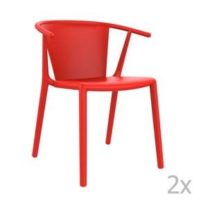 Sada 2 červených záhradných stoličiek Resol Steely