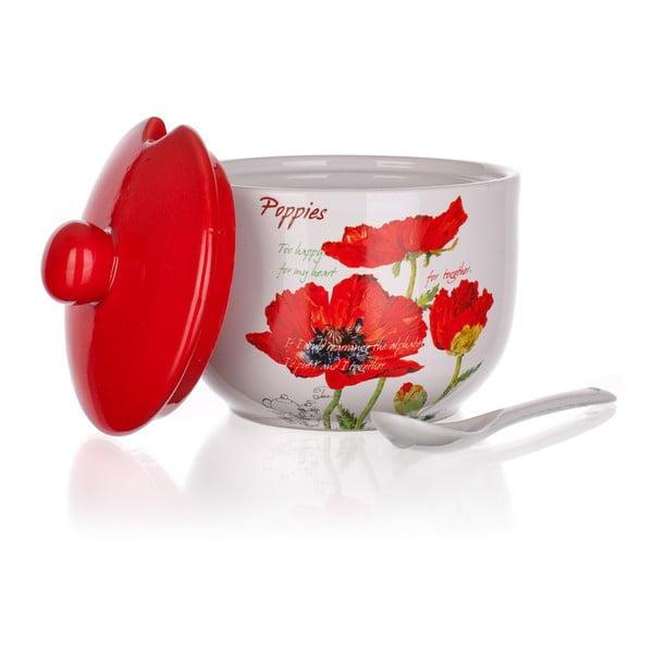 Cukornička s lyžičkou Banquet Red Poppy