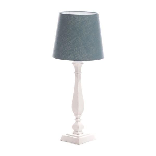 Modrá stolová lampa Tower, biela lakovaná breza, Ø 24 cm
