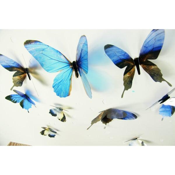 Sada 18 modrých adhezívnych 3D samolepiek Ambiance Butterflies