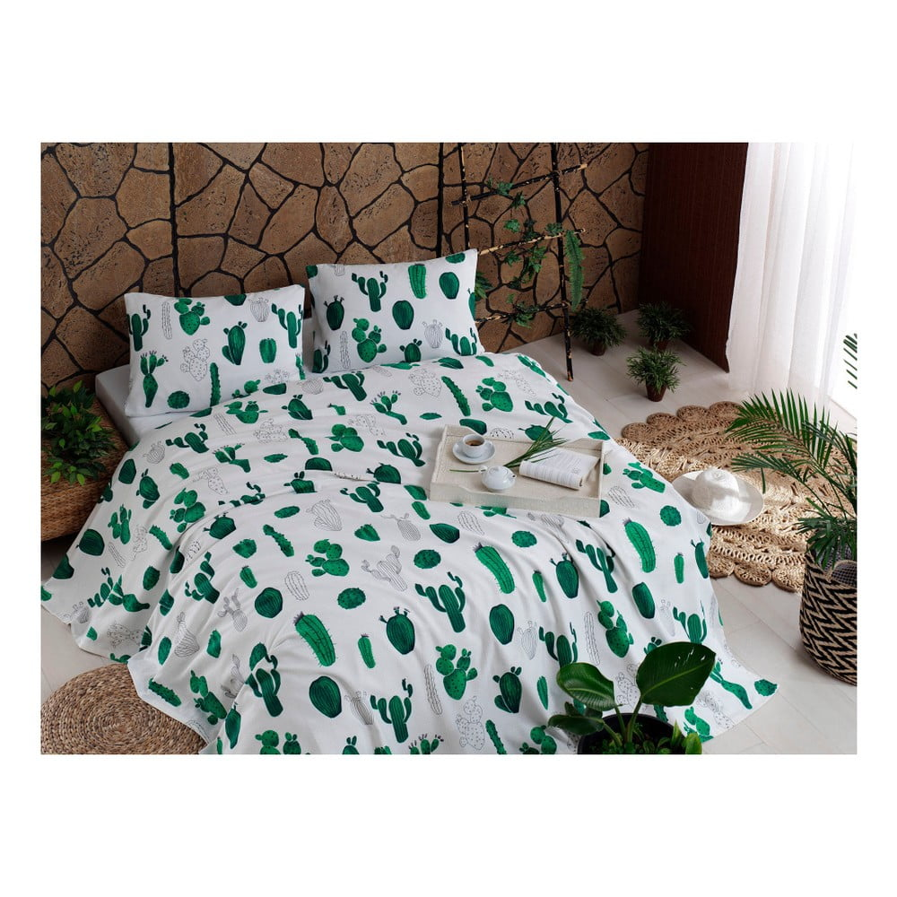 Set bavlneného plédu cez posteľ, plachta a 2 obliečky na vankúš Kaktus Green, 200 x 235 cm