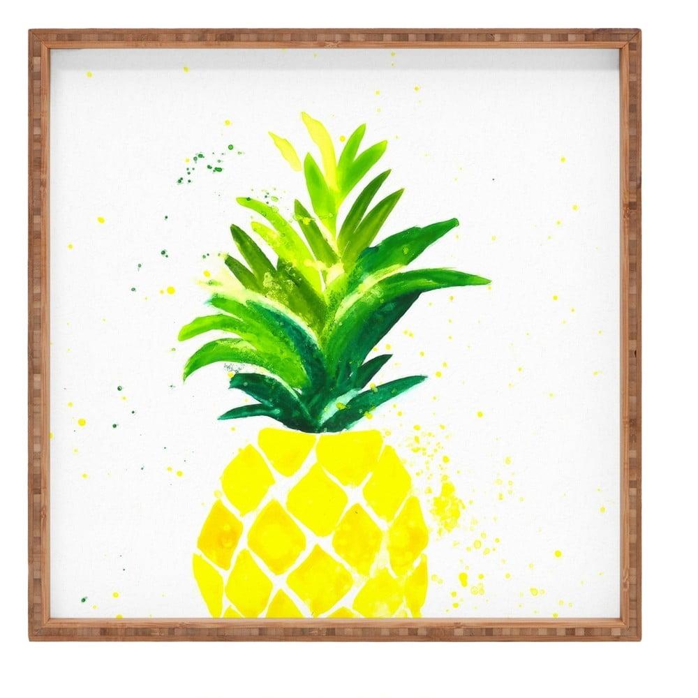 Drevený dekoratívny servírovací podnos Ananas, 40 × 40 cm