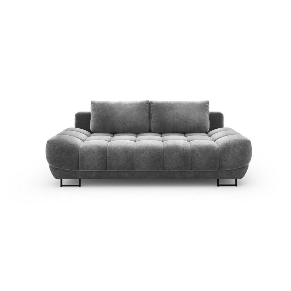 Sivá trojmiestna rozkladacia pohovka so zamatovým poťahom Windsor & Co Sofas Cirrus