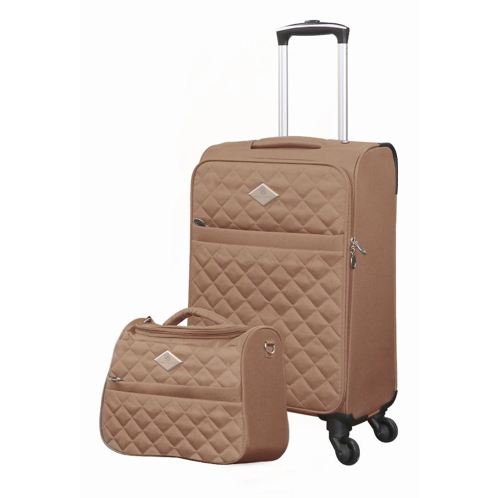 Set béžového cestovného kufra na kolieskach a menšieho kufríka GERARD PASQUIER Valises Cabine & Unity Case