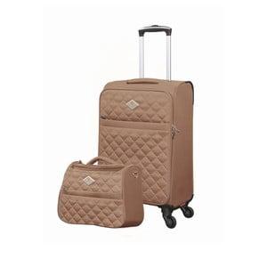 Sada béžového kufra a toaletnej tašky GERARD PASQUIER Adventure, 38 l + 16 l