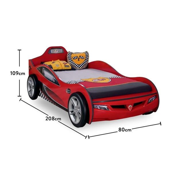 Červená detská posteľ v tvare auta Coupe Carbed Red, 90 × 190 cm