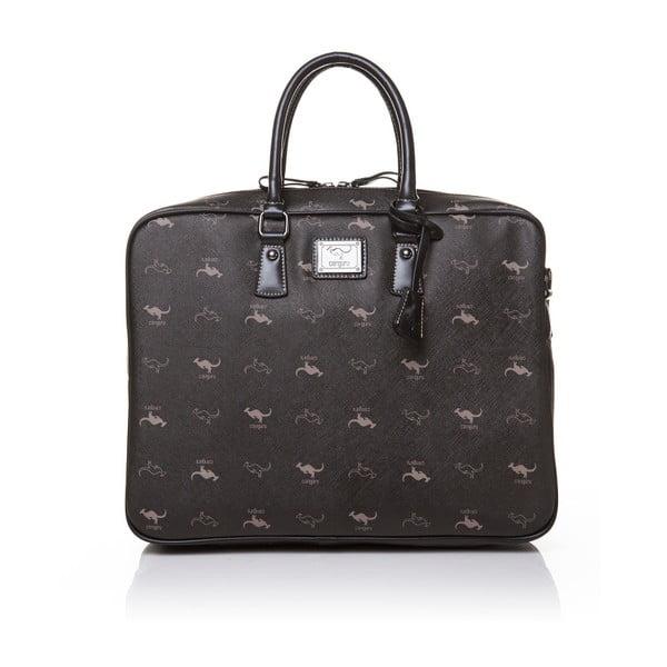 Kožená kabelka do ruky Canguru Louis, čierna