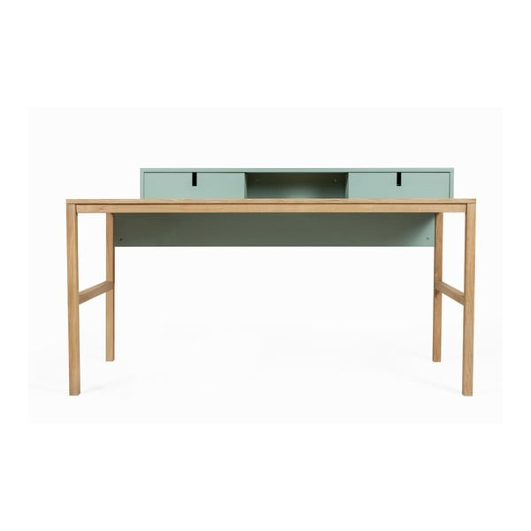 Pracovný stôl z borovicového a dubového dreva s 2 zásuvkami Askala Sesi