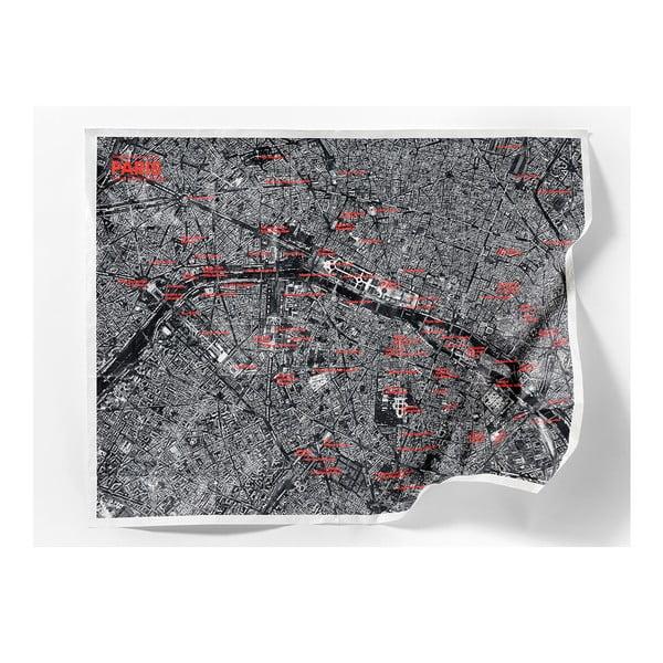 Pokrčená cestovná mapa zo satelitu Miláno