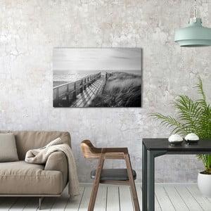 Sklenený obraz OrangeWallz Black Sand Beach, 60 x 90 cm