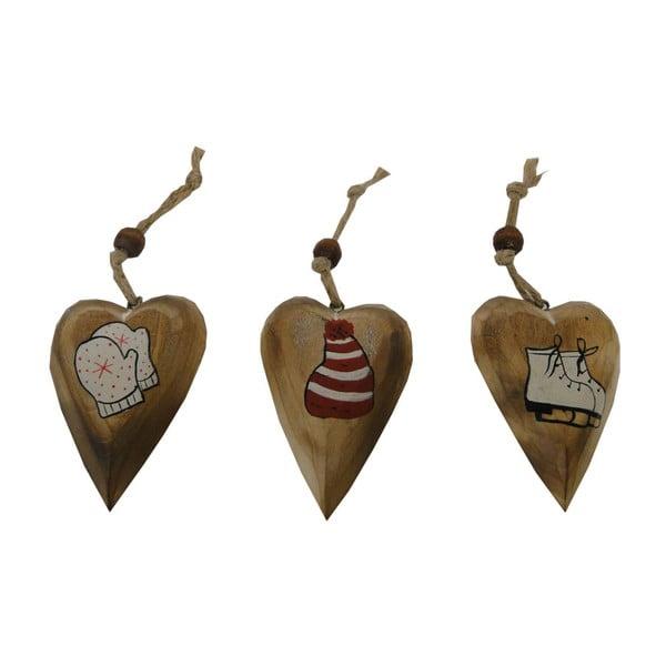 Set 3 závesných dekorácií v tvare srdca Antic Line