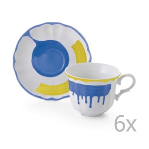 Sada 6 hrnčekov a 6 tanierikov Giotto Yellow/Blue