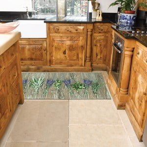 Vysokoodolný kuchynský koberec Webtappeti Lavender, 60×115cm