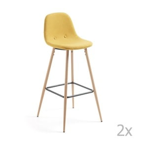 Sada 2 žltých barových stoličiek La Forma Nilson