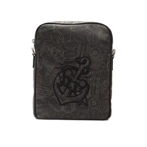 Čierna kožená kabelka Alviero Martini Slito