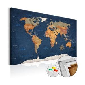 Nástenka s mapou sveta Bimago Ink Oceans 90×60 cm