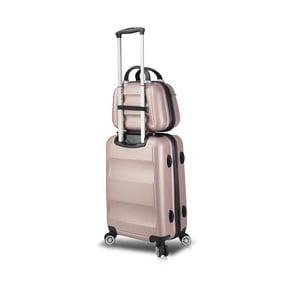 Sada ružového cestovného kufra na kolieskach s USB portom a príručného kufríka My Valice LASSO MU & Medium