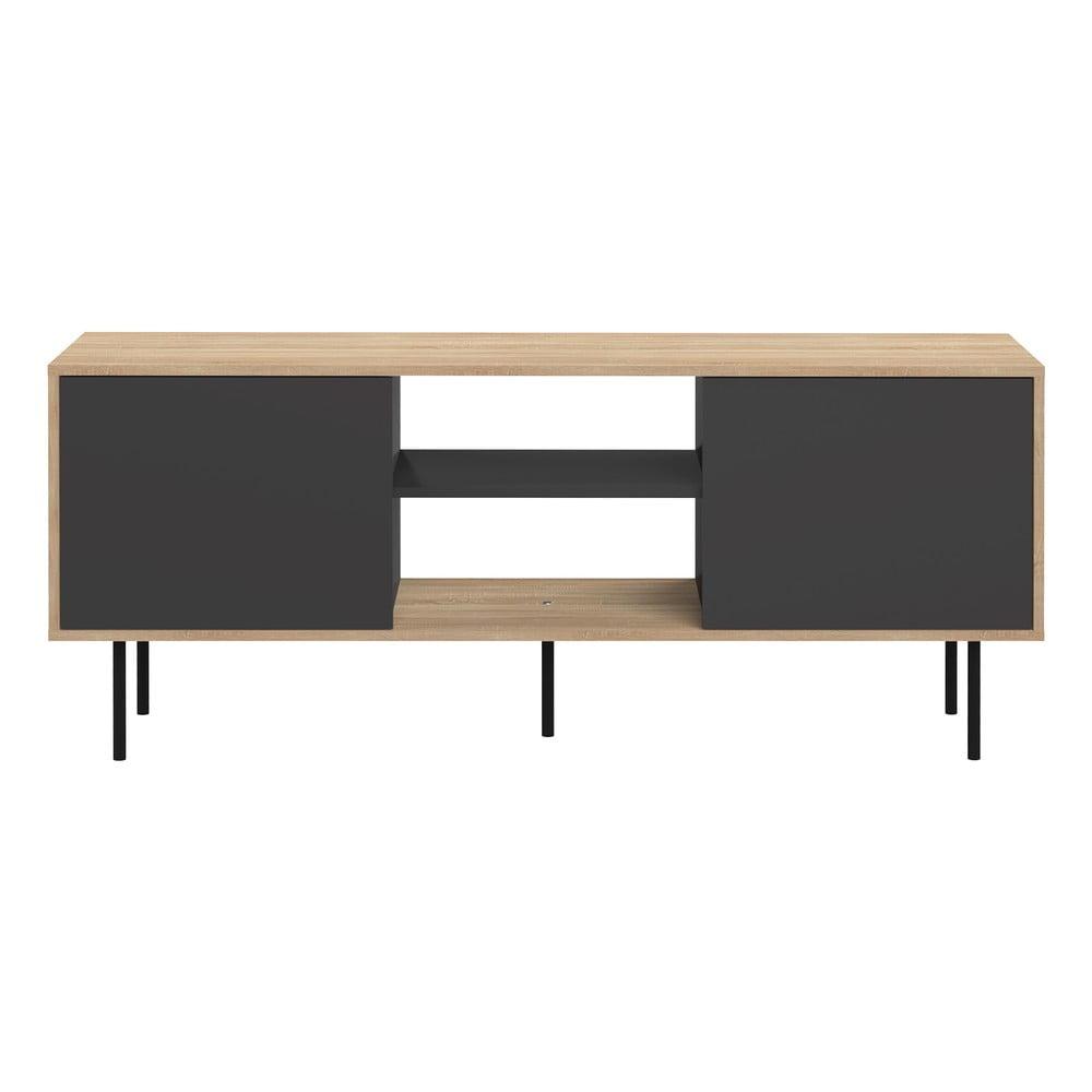 Televízny stolík s čiernymi dvierkami a čiernymi nohami TemaHome Attitude