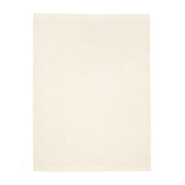 Biely ručne tkaný vlnený koberec Linie Design Dilli, 70 x 140cm