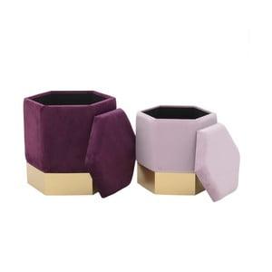 Sada 2 ružových stoličiek so zamatovým poťahom a úložným priestorom InArt Ivii