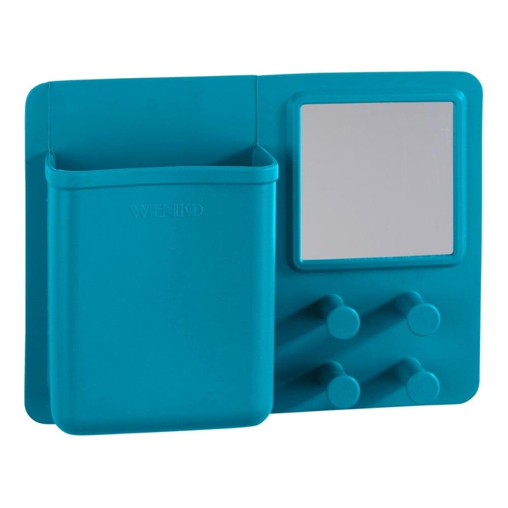 Modrý silikónový nástenný organizér s háčikmi a zrkadlom Wenko Ampio