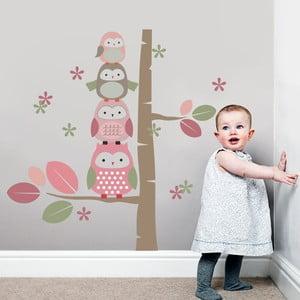 Samolepka Sovičky a kmeň stromov, 70x50 cm