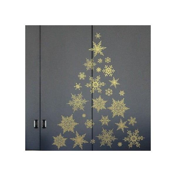 Sada 30 vianočných samolepiek Fanastick Gold Snow Flakes