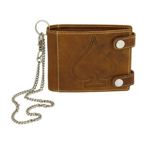 Hnedá kožená peňaženka s řetízkem Friedrich Lederwaren Biker Ace