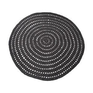 Čierny kruhový bavlnený koberec LABEL51 Knitted, ⌀ 150 cm