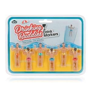 Sada 6 rozlišovačov na poháre NPW Drinking Buddies Drink Markers