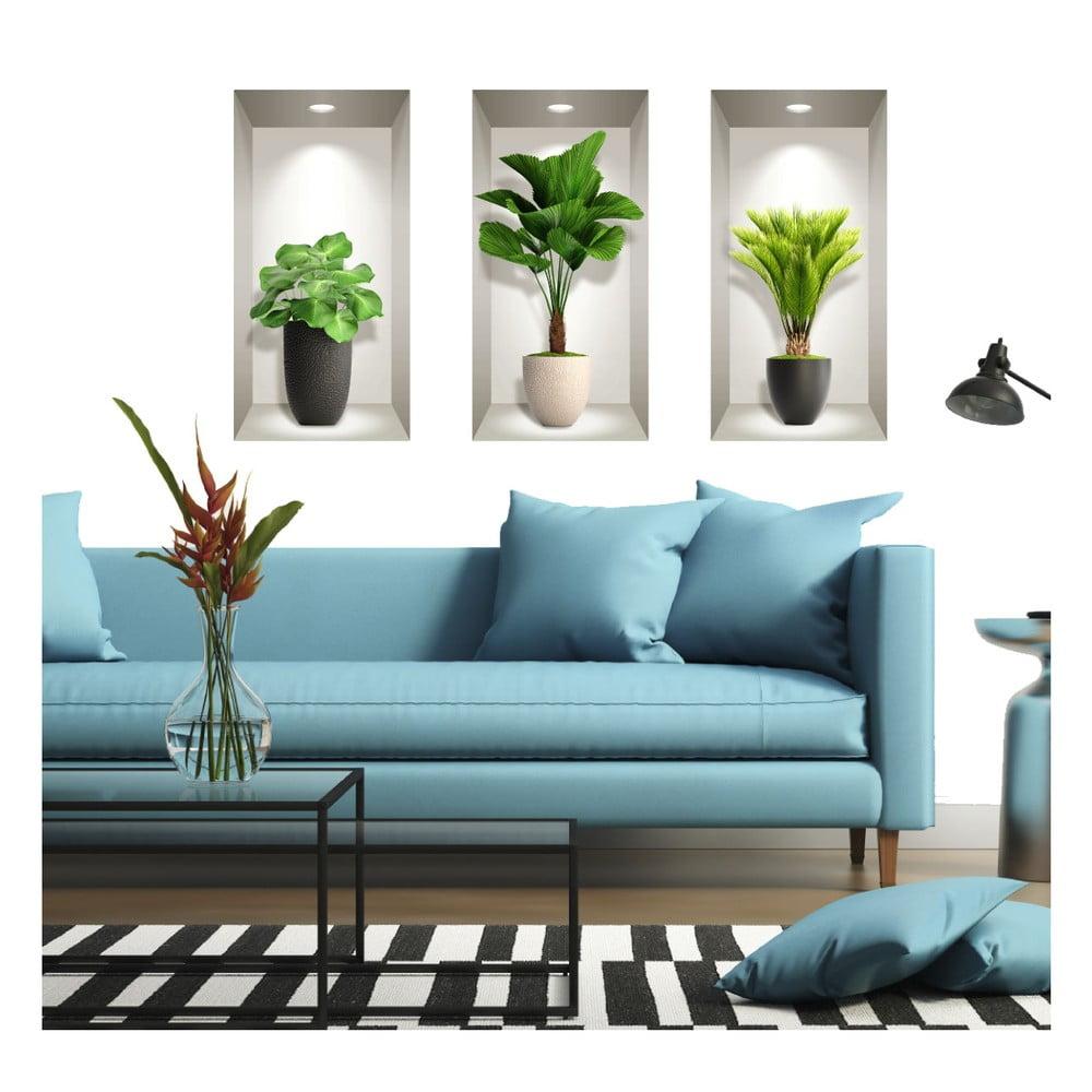 Sada 3 3D samolepiek na stenu Ambiance Tropical Plants