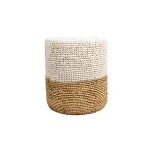 Puf z palmového dreva s bielym detailom HSM collection Raffia, 36×45 cm