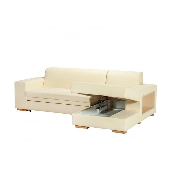 Rozkladacia pohovka A-Maze s úložným priestorom 245 cm, smotanová, pravá strana