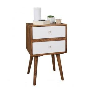 Nočný stolík s bielymi zásuvkami z masívneho sheeshamového dreva Skyport REPA