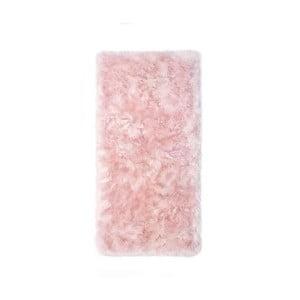 Ružový koberec z ovčej kožušiny Royal Dream Zealand, 140 × 70 cm