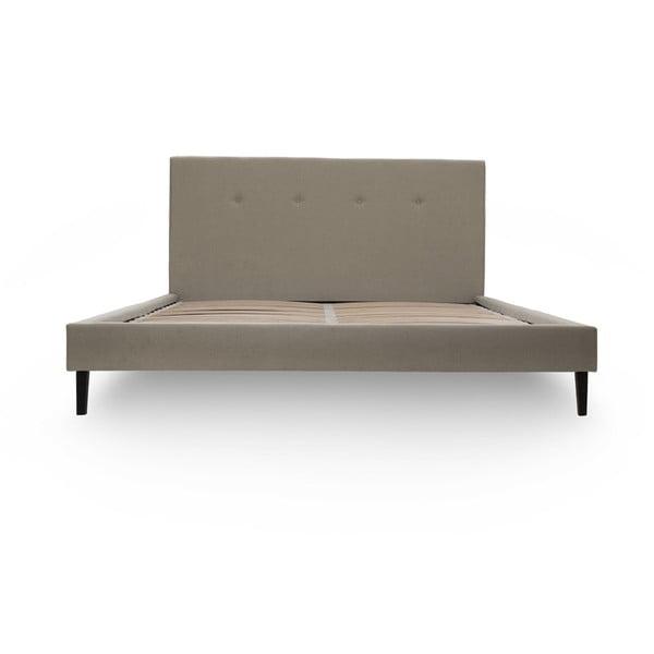 Svetlohnedá posteľ VIVONITA Kent 180x200cm, čierne nohy