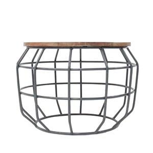 Tmavosivý príručný stolík s doskou z mangového dreva LABEL51 Pixel,⌀56 cm