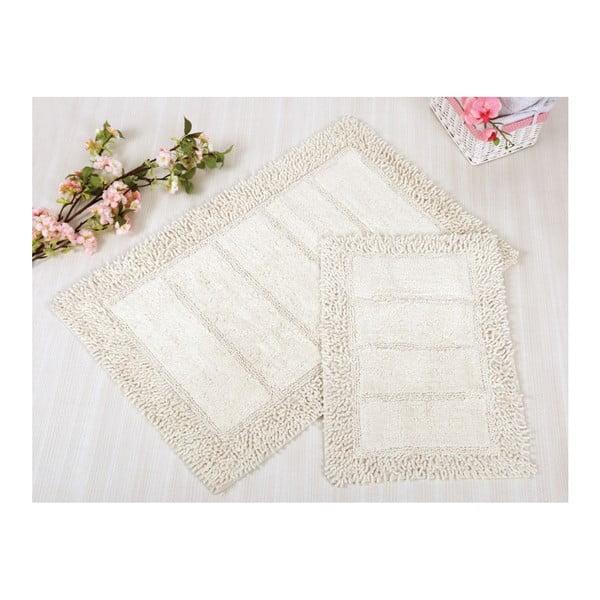 Sada 2 bielych kúpeľňových rohožiek Irya Home Vesta, 60x100 cm a 40x60 cm