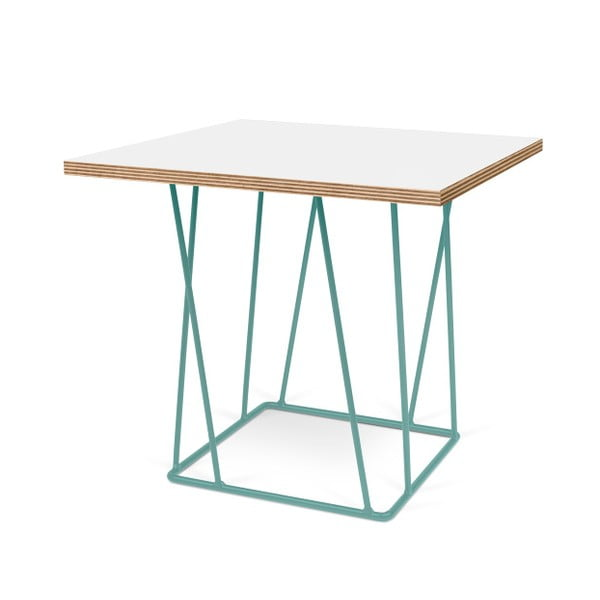 Biely konferenčný stolík so zelenými nohami TemaHome Helix,50cm