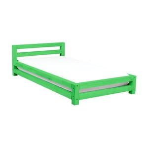 Zelená dvojlôžková posteľ zborovicového dreva Benlemi Double, 200×200cm