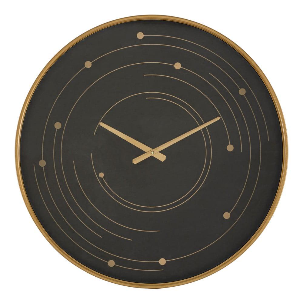 Čierne nástenné hodiny s rámom v zlatej farbe Mauro Ferretti Plix, ø 60 cm