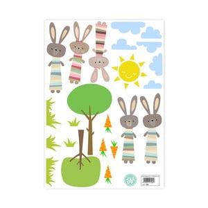 Nástenné samolepky Little W Little Rabbits, 29,7×42cm