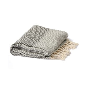 Sivo-čierny hammam uterák Spa Time Zig, 95 x 180 cm