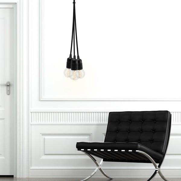 Čierne závesné svietidlo s 3 káblami Bulb Attack Uno Group