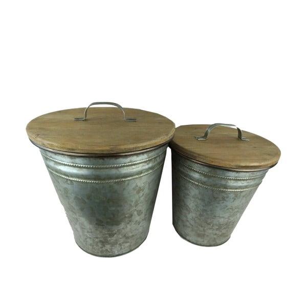 Sada 2 kovových košov s drevenými vekami Antic Line Poubelles