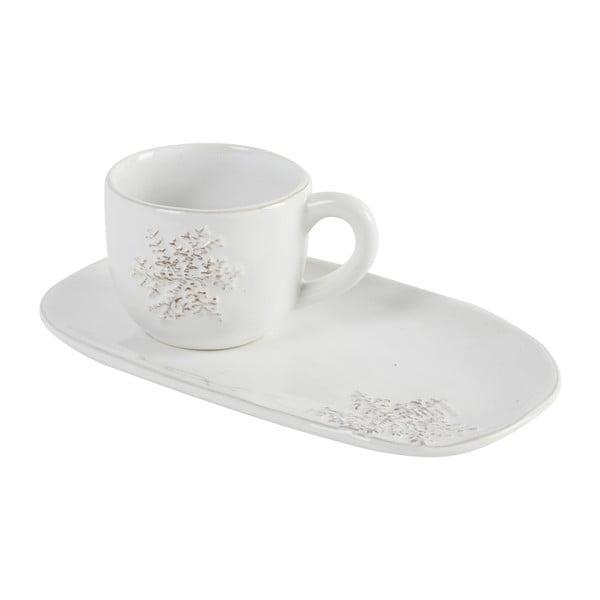 Kávový hrnček s podlhovastým tanierikom Athezza Snowflake, 20 cm
